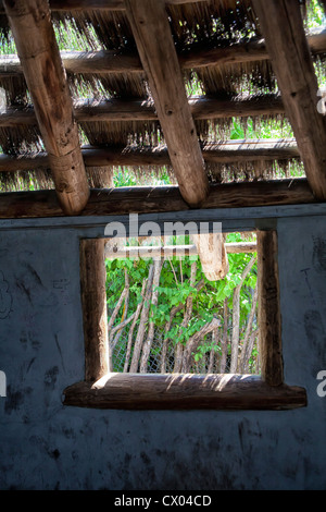 Window in a thatch hut at the Kansas City Zoo - Stock Photo