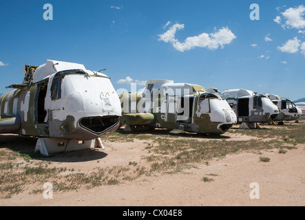 Military helicopters in storage at the 309th Aerospace Maintenance and Regeneration Group at Davis-Monthan Air Force - Stock Photo