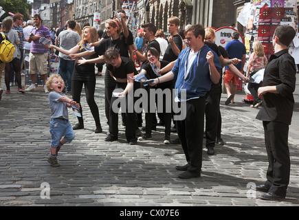 Edinburgh Fringe Scotland 2012. Street performers. - Stock Photo