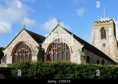 A view of the twin east windows of the double isle'd St Michael's Parish Church at Abergele, North Wales. - Stock Photo