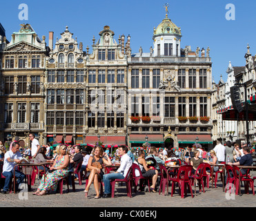 grand place brussels belgium people sitting relax - Stock Photo