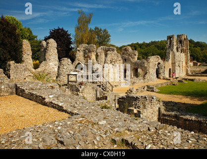 Remains of Wolvesey Castle, Winchester. - Stock Photo
