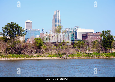 Omaha, Nebraska and the river - Stock Photo