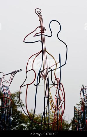 Bass Violin player, Jazz Dock in Prague, Czech Republic - Stock Photo