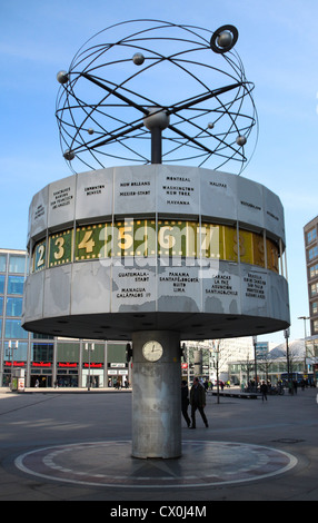 The clock in the world built by Eric John to Alexanderplatz in Berlin, Germany - Stock Photo