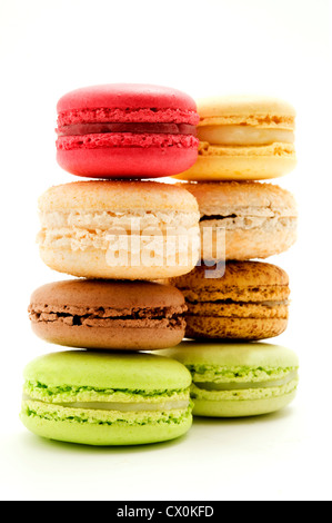 Traditional macarons on a white background - Stock Photo