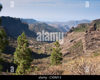Roque Nublo in Gran Canaria, the top is 1813 m high, a destination for tourists and hikers,a view from the footpath - Stock Photo