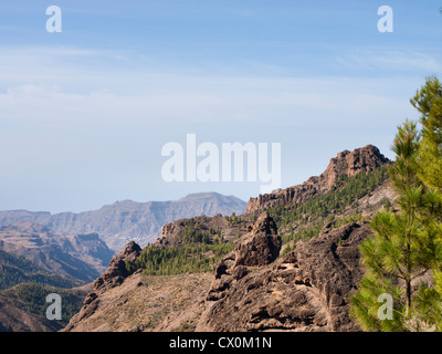 Roque Nublo in Gran Canaria, the top is 1813 m high, a destination for tourists and hikers, view of surrounding - Stock Photo