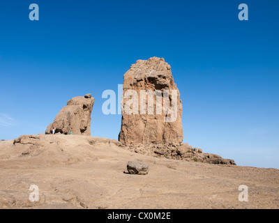 Roque Nublo in Gran Canaria, the elevation  is 1813 m, the rock 80 m, a destination for tourists and hikers - Stock Photo