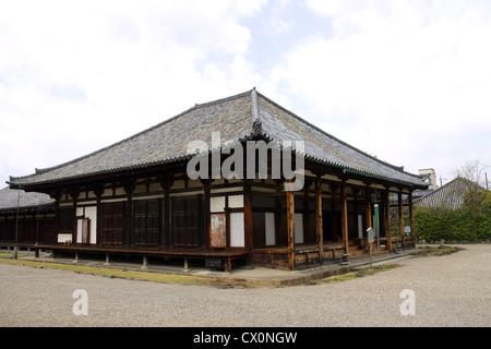 Main hall Gokurakubo hondo of Gangoji temple in Nara. National treasure of Japan. World Heritage Site of UNESCO. - Stock Photo