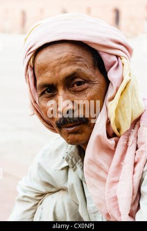 Portrait of man with turban, Lahore , Pakistan - Stock Photo