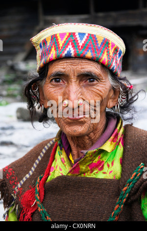 Portrait of old lady in Malana village . Himachal Pradesh . India - Stock Photo