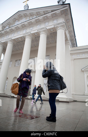 Miracle stone Cathedral Square Vilnius Lithuania - Stock Photo
