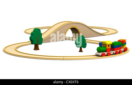 3D illustration of colorful wooden toy train with track, isolated on white background - Stock Photo