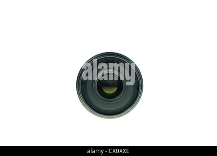 Old Black lens Front view of lens isolated on white background - Stock Photo
