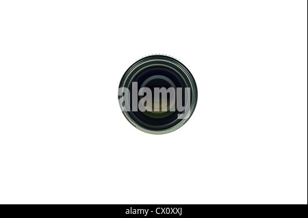 Black lens Front view of lens isolated on white background - Stock Photo