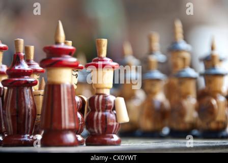 Handmade Chess game and Pieces, Samarkand, Uzbekistan - Stock Photo