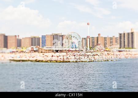 Coney Island beach, Brooklyn, New York, USA - Stock Photo