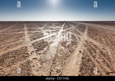Tracks on beach on island of Djerba, Tunisia - Stock Photo