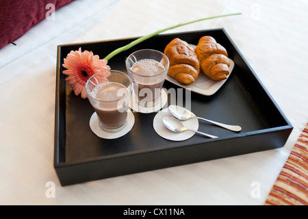 Breakfast tray with coffee and criossants - Stock Photo
