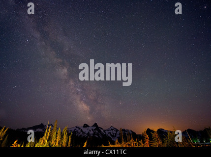 The Milky Way over The Cascades, Washington, USA - Stock Photo
