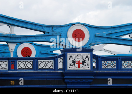Detail of support girders on Tower Bridge over the River Thames. London. England - Stock Photo