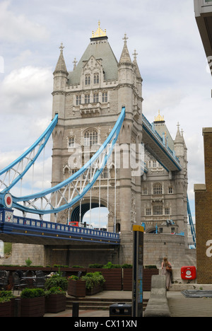 Tower Bridge over the River Thames. London. England. Viewed from Shad Thames on the South Bank. - Stock Photo