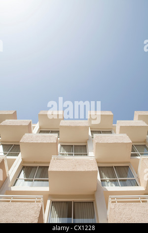 Low angle view of holiday apartments