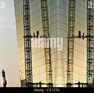 Construction of new European Monetary Bank at sunset, Frankfurt, Hesse, Germany - Stock Photo