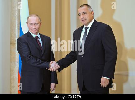 ITAR-TASS: SOFIA, BULGARIA. NOVEMBER 13, 2010. Russian Prime Minister Vladimir Putin (L) and Bulgarian Prime Minister - Stock Photo