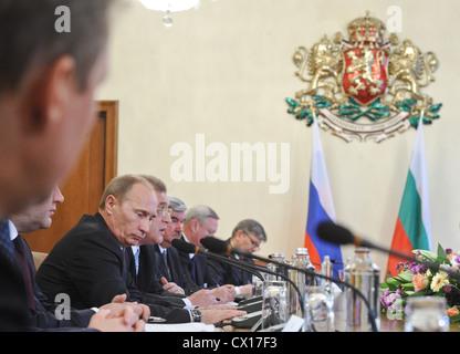 ITAR-TASS: SOFIA, BULGARIA. NOVEMBER 13, 2010. Russian Prime Minister Vladimir Putin (L) at a bilateral meeting - Stock Photo