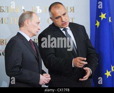 ITAR-TASS: SOFIA, BULGARIA. NOVEMBER 13, 2010. Russian Prime Minister Vladimir Putin and Bulgarian Prime Minister - Stock Photo