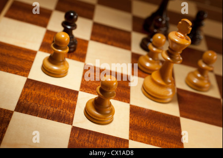 king and pawns on a chessboard - Stock Photo
