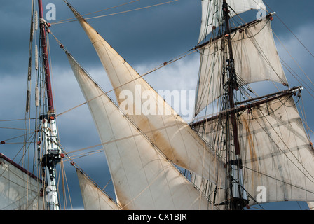Tall Ship, the Sailing Vessel and Cargo Ship, Brigadine Tres Hombres, Two Masted and Square Rigged Schooner - Stock Photo