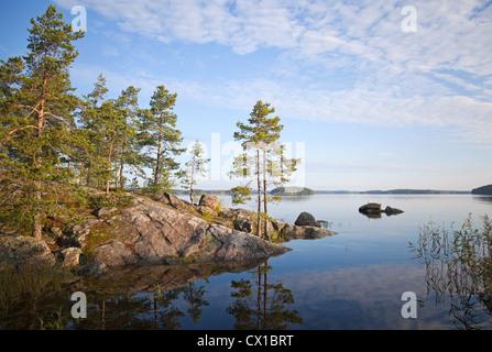 Coastal landscape, Saimaa lake, Karelia, Finland - Stock Photo