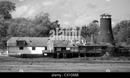 Converted grade 2 listed building, Windmill, Chichester, harbor, Langstone, Hayling Island at Low Tide exposing - Stock Photo