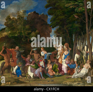 Giovanni Bellini and Titian (Italian, c. 1430/1435 - 1516 ), The Feast of the Gods, 1514/1529, oil on canvas - Stock Photo