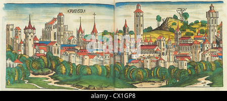 Nuremberg Chronicle, published 1493, 1 vol: ill: 1,809 hand-colored woodcuts, printed from 645 different blocks, - Stock Photo