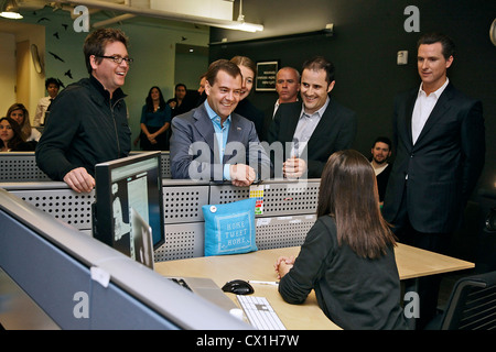 CALIFORNIA, USA. JUNE 23, 2010. Russian President Dmitry Medvedev (C, background) seen during his visit to the Twitter - Stock Photo