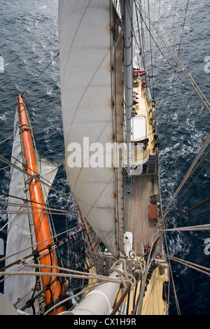 Bird's eye view on sails, rigging and deck on board of the tall ship / barquentine Antigua sailing towards Svalbard, - Stock Photo
