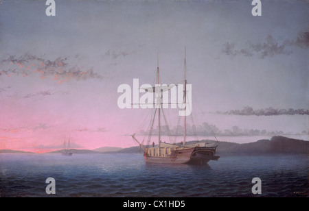 Fitz Henry Lane, Lumber Schooners at Evening on Penobscot Bay, American, 1804 - 1865, 1863, oil on canvas - Stock Photo
