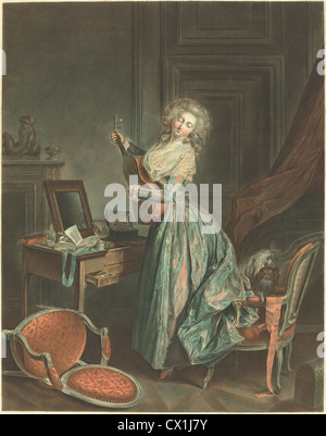 Jean-François Janinet after Nicolas Lavreince (French, 1752 - 1814 ), A Woman Playing the Guitar, 1788/1789 - Stock Photo
