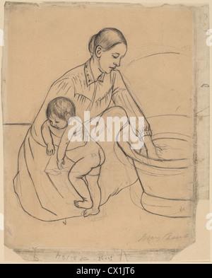 Mary Cassatt, The Bath [recto], American, 1844 - 1926, 1891, graphite and black crayon - Stock Photo