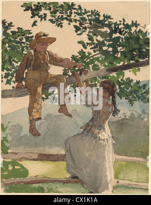 Winslow Homer, On the Fence, American, 1836 - 1910, 1878, watercolor, gouache, and graphite on wove paper - Stock Photo
