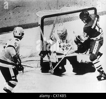 USA. Lake Placid. The 13th Winter Olympics. The match between the USSR and Canada ended 6:4. Soviet ice-hockey player - Stock Photo