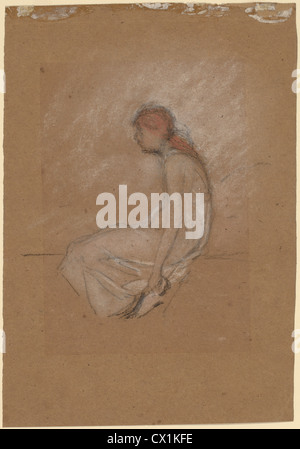 James McNeill Whistler, Seated Woman with Red Hair, American, 1834 - 1903, 1870/1873, pastel and chalk on brown - Stock Photo