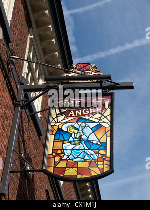 The Angel pub sign in Knutsford Cheshire UK - Stock Photo
