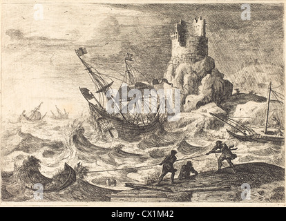 Claude Lorrain (French, 1604/1605 - 1682 ), The Shipwreck (Le naufrage), c. 1638/1641, etching - Stock Photo