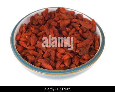 Bowl Of Healthy Dried Goji Berries Isolated White Background With Clipping Path And No People - Stock Photo