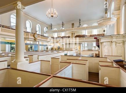 Interior of historic Old South Meeting House Museum, Washington Street, Boston, Massachusetts, USA - Stock Photo